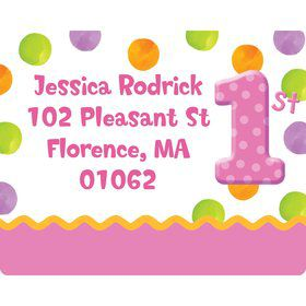 Pink Polka Dot 1st Birthday Party Personalized Address Labels (Sheet of 15)