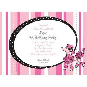 Pink Poodle Personalized Invitation (each)
