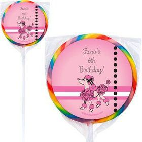 Pink Poodle Personalized Lollipops (pack of 12)