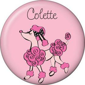 Pink Poodle Personalized Mini Button (each)