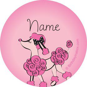 Pink Poodle Personalized Mini Stickers (Sheet of 24)