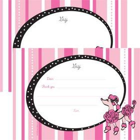 Pink Poodle Personalized Thank You Note (each)