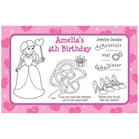 Pink Princess Party Personalized Activity Mat (8 pack)