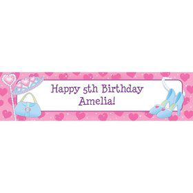 Pink Princess Party Personalized Banner (each)