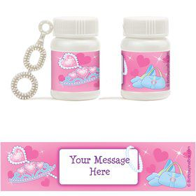 Pink Princess Party Personalized Bubbles (18 Pack)
