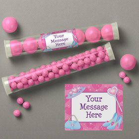 Pink Princess Party Personalized Candy Tubes (12 Count)