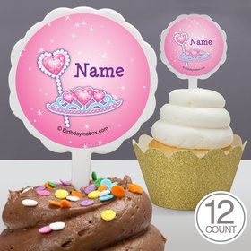 Pink Princess Party Personalized Cupcake Picks (12 Count)