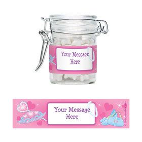 Pink Princess Party Personalized Glass Apothecary Jars (12 Count)