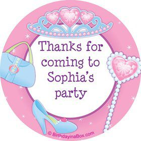 Pink Princess Party Personalized Sticker