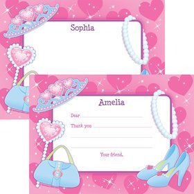 Pink Princess Party Personalized Thank You Note