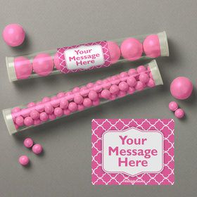 Pink Quatrefoil Personalized Candy Tubes (12 Count)