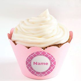 Pink Quatrefoil Personalized Cupcake Wrappers (Set of 24)