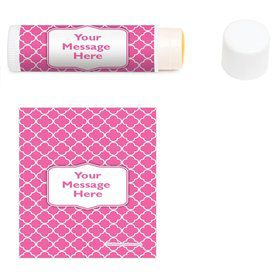 Pink Quatrefoil Personalized Lip Balm (12 Pack)