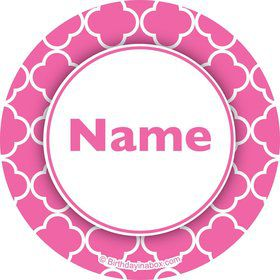 Pink Quatrefoil Personalized Mini Stickers (Sheet of 24)