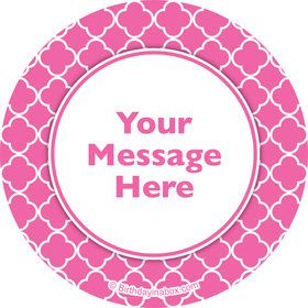 Pink Quatrefoil Personalized Stickers (Sheet of 12)