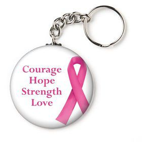 "Pink Ribbon Personalized 2.25"" Key Chain (Each)"