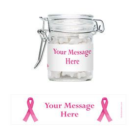 Pink Ribbon Personalized Swing Top Apothecary Jars (12 ct)