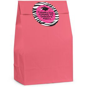 Pink Zebra Grad Personalized Favor Bag (12 Pack)