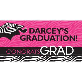 "Pink Zebra Grad Personalized Giant Banner 60x30"" (Each)"