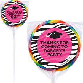 Pink Zebra Grad Personalized Lollipops (12 Pack)