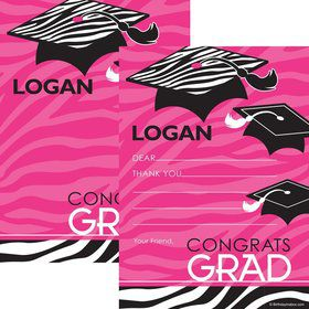 Pink Zebra Grad Personalized Thank You Note (Each)