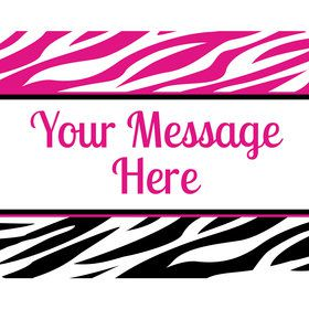 Pink Zebra Stripes Personalized Rectangular Stickers (Sheet of 15)