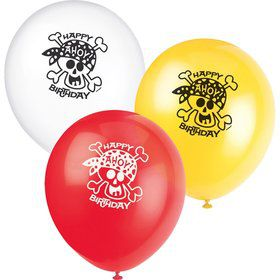 "Pirate Birthday 12"" Latex Balloons (8-Pack)"