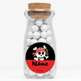 "Pirate Birthday Personalized 4"" Glass Milk Jars (Set of 12)"