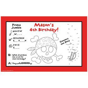 Pirate Birthday Personalized Activity Mat (8 pack)