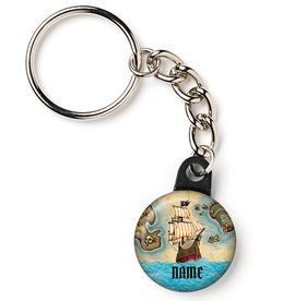 "Pirate Map Personalized 1"" Mini Key Chain (Each)"