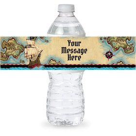 Pirate Map Personalized Bottle Label (Sheet of 4)