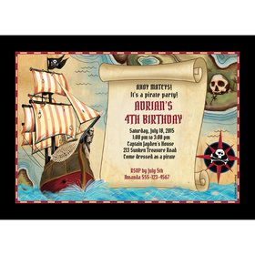 Pirate Map Personalized Invitation (Each)
