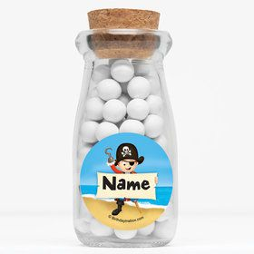 "Pirate Personalized 4"" Glass Milk Jars (Set of 12)"