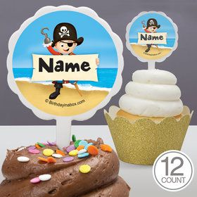 Pirate Personalized Cupcake Picks (12 Count)