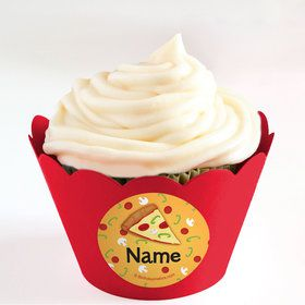Pizza Party Personalized Cupcake Wrappers (Set of 24)