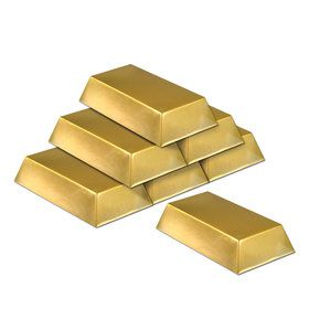Plastic Gold Bar Decorations (6)