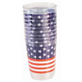 Plastic Patriotic Tall Tumbler (10 Count)