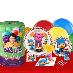 Pocoyo 16 Guest Kit with Tableware and Helium Kit