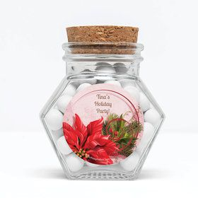 """Poinsettia Holiday Personalized 3"""" Glass Hexagon Jars (Set of 12)"""