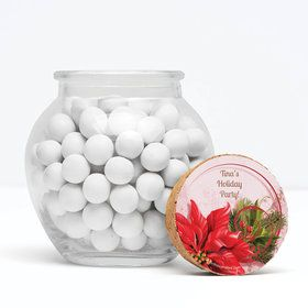 """Poinsettia Holiday Personalized 3"""" Glass Sphere Jars (Set of 12)"""