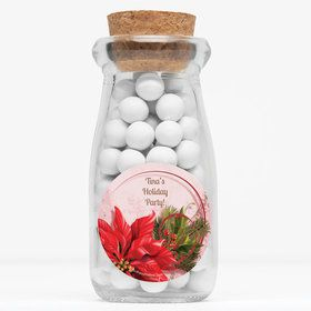 """Poinsettia Holiday Personalized 4"""" Glass Milk Jars (Set of 12)"""