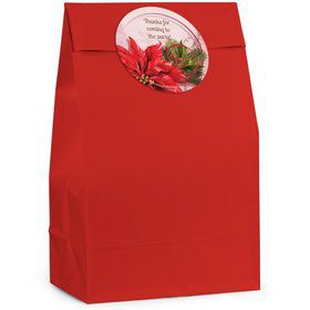 Poinsettia Holiday Personalized Favor Bag (Set Of 12)