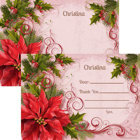Poinsettia Holiday Personalized Thank You Note (Each)