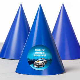 Police Personalized Party Hats (8 Count)
