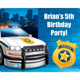 Police Personalized Rectangular Stickers (Sheet of 15)