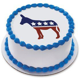 "Political Donkey 7.5"" Round Edible Cake Topper (Each)"