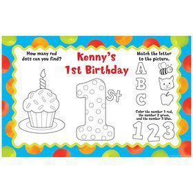 Polka Dot Boys 1st Birthday Personalized Activity Mats (8-Pack)