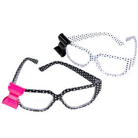 Polka Dot Nerd Glasses with Bow One size