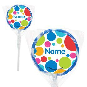 "Polka Dot Party Personalized 2"" Lollipops (20 Pack)"