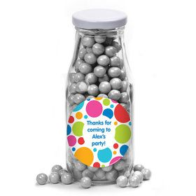 Polka Dot Party Personalized Glass Milk Bottles (12 Count)